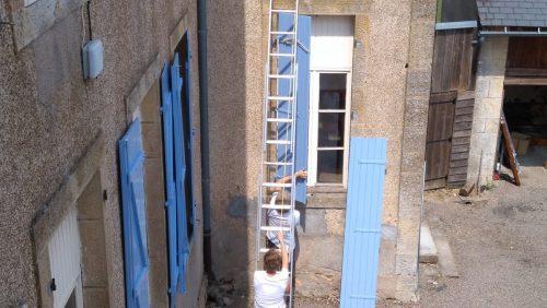 frankrijk, luiken, schilderen, blauw